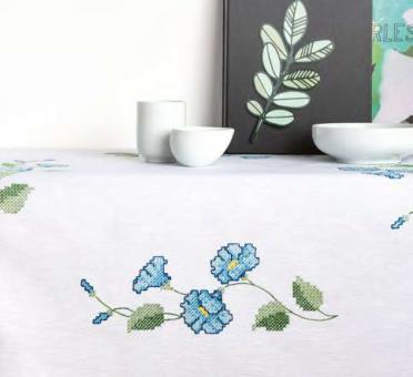 Stickpackung Rico Kreuzstich Blaue Blumen