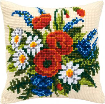 Stickpackung Kreuzstichkissen Blumenstrauß