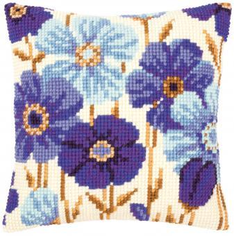 Stickpackung Kreuzstichkissen Blumen violett, blau
