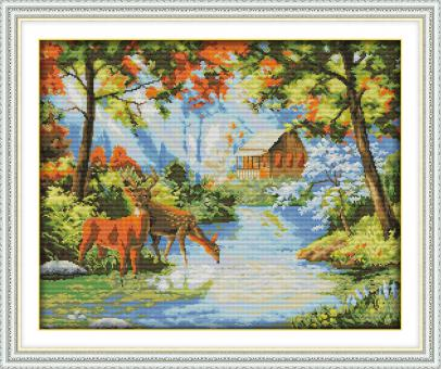 "Cross Stich Stickpackung ""Hirsche am Bach"""