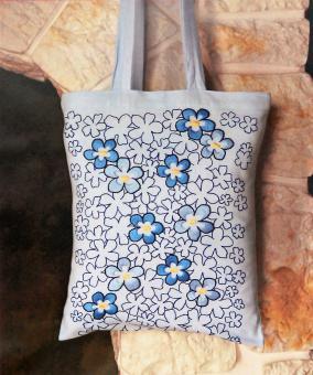 Stickpackung Tasche Blumen blau