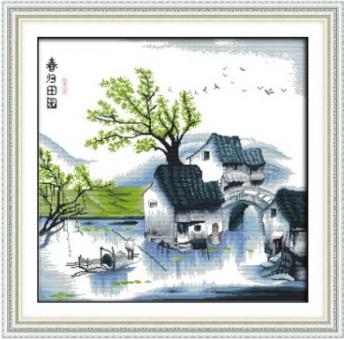 """Cross Stich Stickpackung """" Chinesisches Dorf im Frühling"""""""