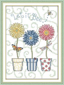 """Cross Stich Stickpackung """" Blumen im Topf"""""""