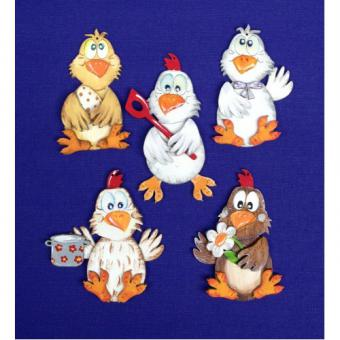 Bastelset 5 Hühner auf Platte