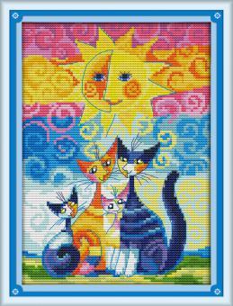 """Cross Stich Stickpackung """"Katze unter der Sonne 2"""""""