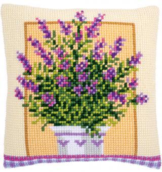 Stickpackung Kreuzstichkissen Lavendel im Topf