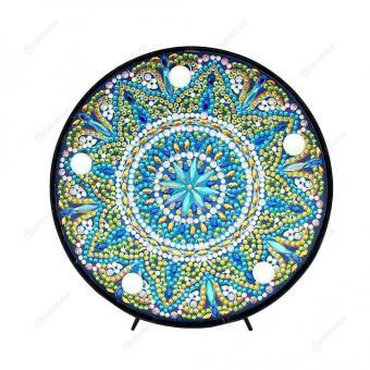 Diamond Painting LED Nacht Lampe Mandala türkis