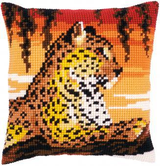 Stickpackung Kreuzstichkissen Leopard
