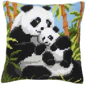 Stickpackung Kreuzstichkissen Panda Familie