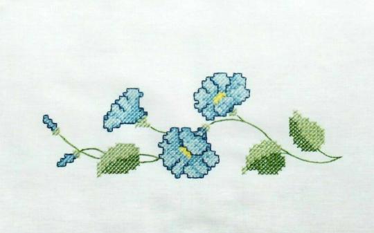 Stickpackung Tischdecke Blumen blau