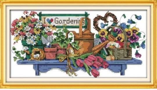 """Cross Stich Stickpackung """"I love gardening """""""