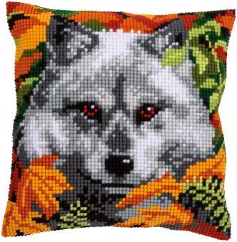Stickpackung Kreuzstichkissen Wolf
